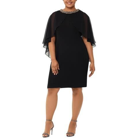 Xscape Womens Plus Cocktail Dress Embellished Capelet - Black