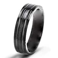 Black Titanium Grooved 6mm Brushed and Polished Band Ring