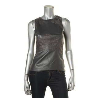Bailey 44 Womens Kelly Faux Leather Lace-Trim Blouse