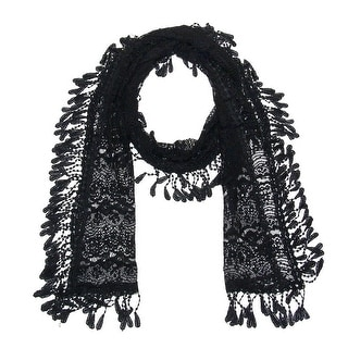"""Women's Sheer Lace Scarf With Fringe - Black - 70"""" x 11"""""""