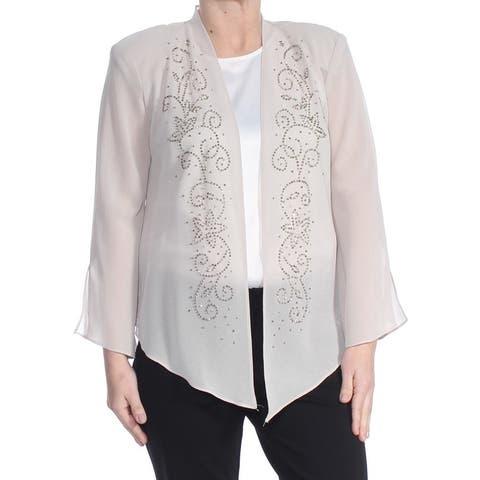R&M RICHARDS Womens Beige Embellished Wear To Work Jacket Size 14