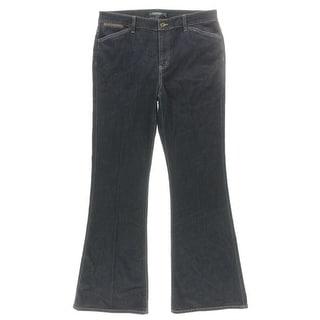Lauren Ralph Lauren Womens Flare Jeans Leather Trim Dark Wash - 14