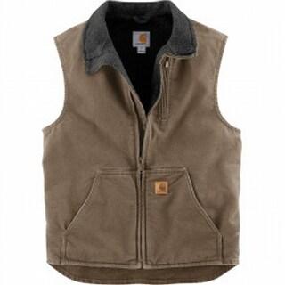 Carhartt NEW Brown Mens Size Medium M Mock-Neck Logo-Badge Vest Jacket