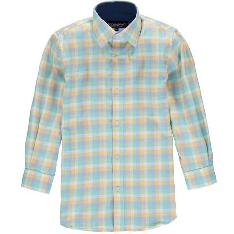 Leo & Zachary Boys 4-7 Chambray Plaid Dress Shirt