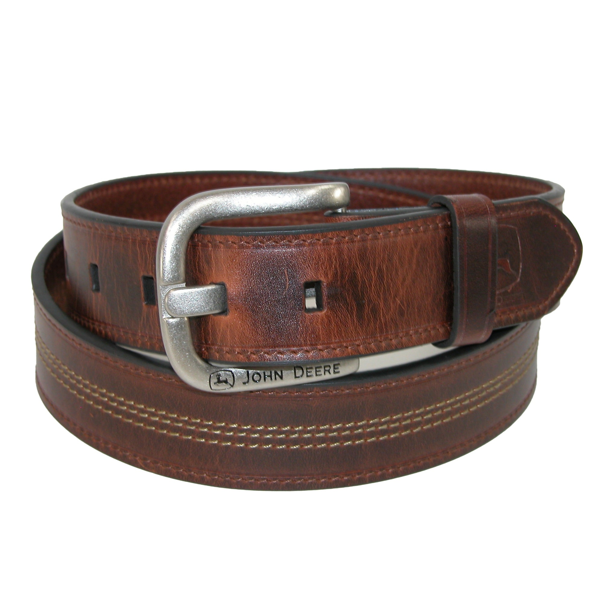 John Deere Mens Canvas with Crazy Horse Leather Belt