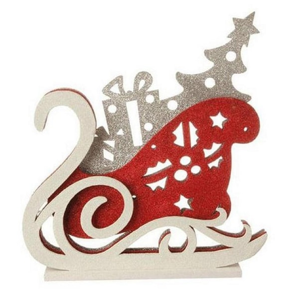 """13.25"""" Red, White and Silver LED Lighted Sleigh Silhouette Table Top Christmas Decoration - RED"""