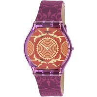 Swatch Women's Shantaram  Purple Leather Swiss Quartz Fashion Watch