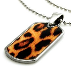 Tungsten Animal Leopard Dog Tag ID Pendant - 24 inches