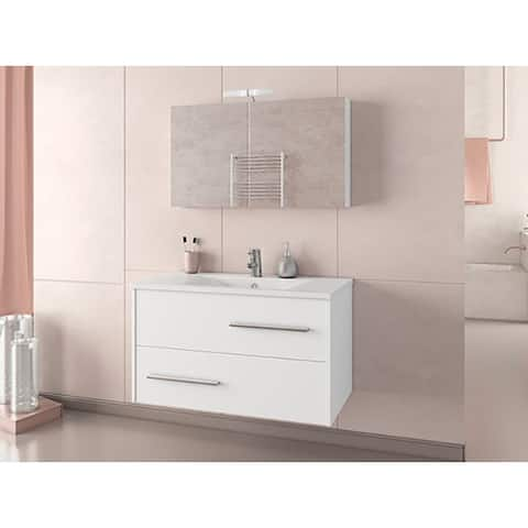 """36"""" Hera White Floating Vanity with Integrated Porcelain Sink"""
