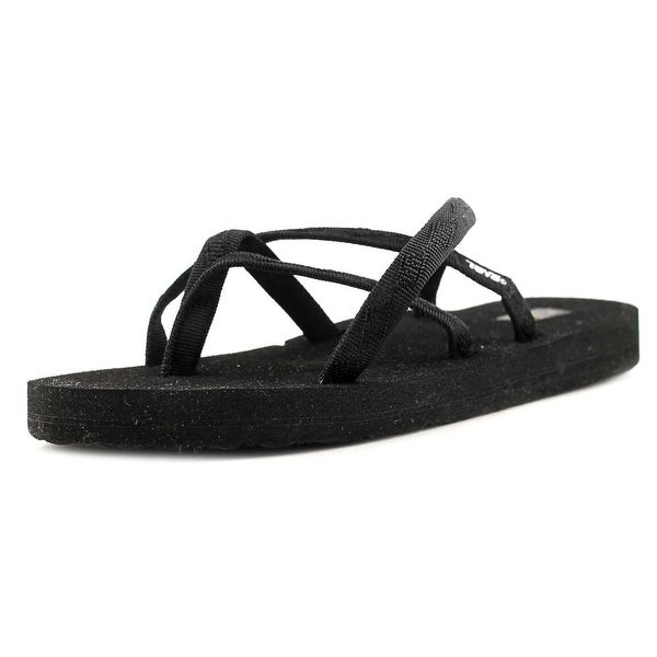 Teva Olowahu Women Open Toe Canvas Black Flip Flop Sandal