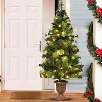 Costway 5FT Pre-Lit Christmas Entrance Tree w/ 100 LED Lights Red Berries Pine Cones - Green