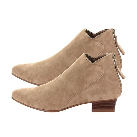 Seven7 Camel Kelsey Booties Anti Slip Foam Footbed Pointed Toe- Size 6