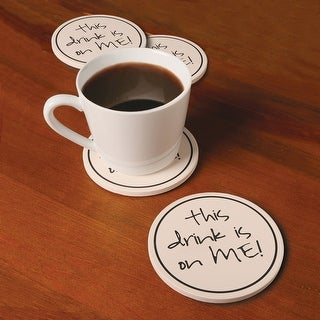 Funny Coasters - This Drink Is On Me - Sandstone With Cork Backing - Set Of 4