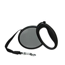 Ergonomic Solid Black and Gray Retractable Dog Leash - 33 Pound Limit