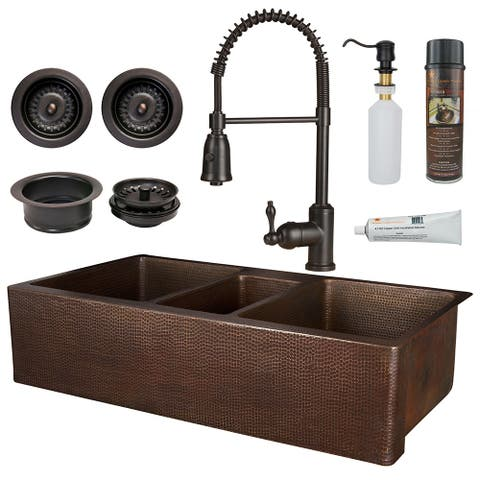 Premier Copper Products KSP4_KATDB422210 Kitchen Sink, Spring Faucet and Accessories Package