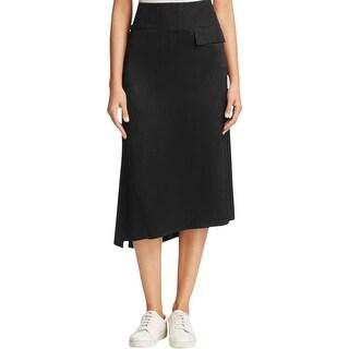 DKNY Womens A-Line Skirt Asymmetrical Satin