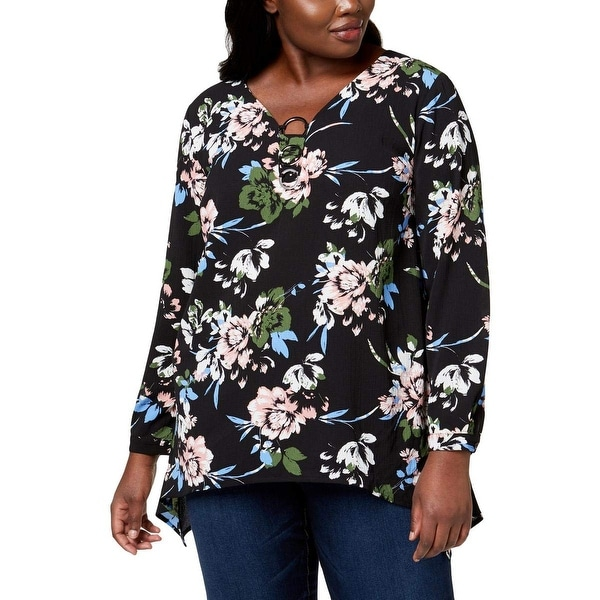 NY Collection Black Womens Size 1X Plus Ring-Hardware Floral Blouse