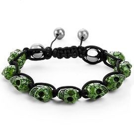Men's Green Resin Grinning Skull Bead Adjustable Cord Bracelet (17 mm) - 7.5 in