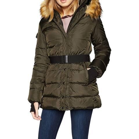 S13 Women's Jacket Green Size XL Puffer Faux-Fur Hood Trim Belted