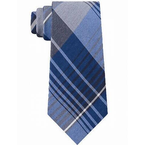 Kenneth Cole Reaction Blue Men's One Size Landmark Plaid Slim Neck Tie