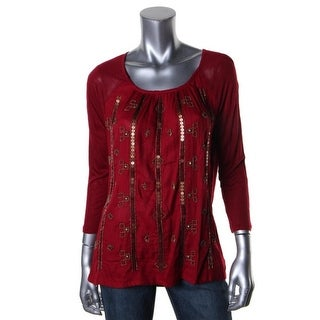 Lucky Brand Womens Jersey Embellished Pullover Top
