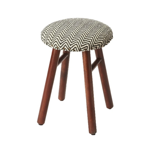 Offex Transitional Upholstered Round Low Stool - Gray