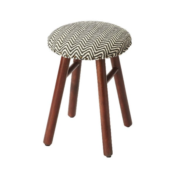 Transitional Upholstered Round Low Stool - Gray