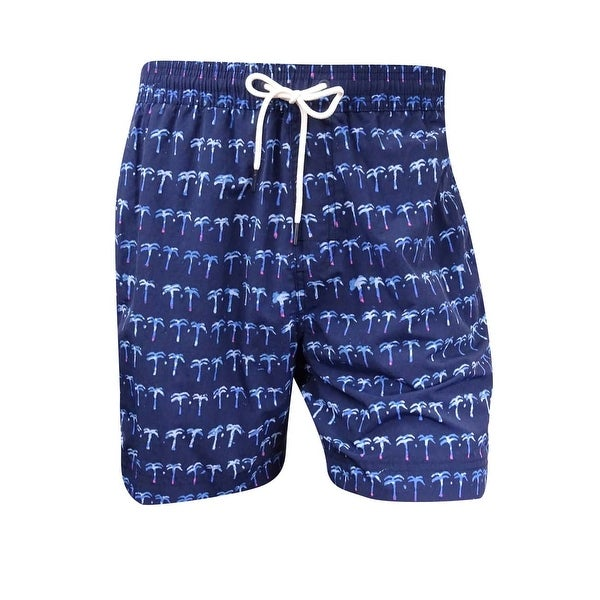 06c9c6945613e Shop Tommy Hilfiger Men's Poolside Palm-Print Swim Trunks - Navy - L - Free  Shipping On Orders Over $45 - Overstock - 17605324