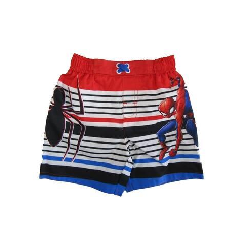 Marvel Little Boys Red Spiderman Swim Shorts