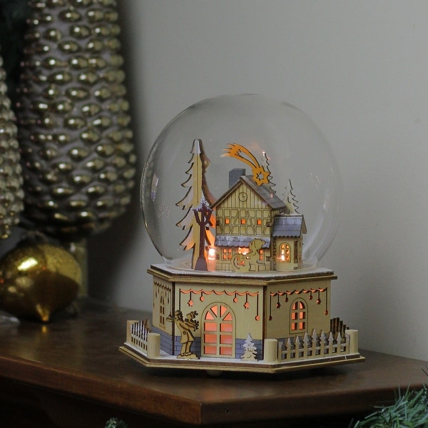 """8.75"""" Christmas LED Wood Laser Cut Town Table Top Dome Decoration - brown"""