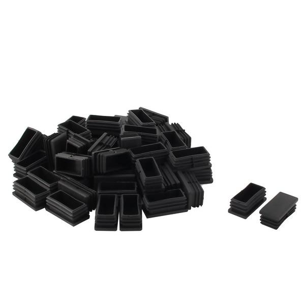 Furniture Chair Table Plastic Tube Insert Protector Cap Black 50mm x 25mm 50pcs