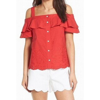 Draper James Red Womens Size 8 Cotton Ruffled Embroidered Knit Top