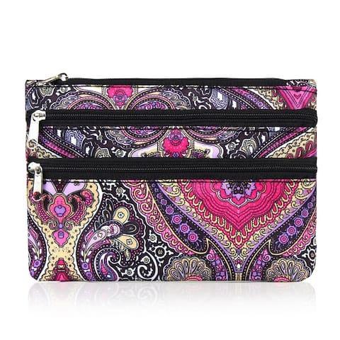 Zodaca Women Coin Purse Wallet Zipper Pouch Bag Card Holder Case - Purple Paisley