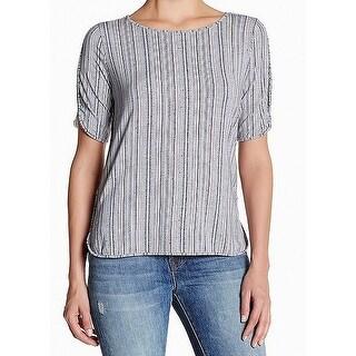 Tart Blue White Women's Size Large L Striped Stretch Knit Top