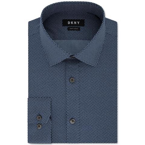 DKNY Mens Dress Shirt Ocean Blue Size XL Slim Fit Stretch Geo Print