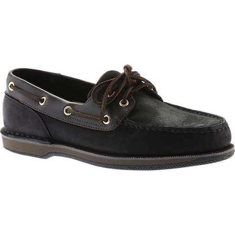 Rockport Men's Perth Boat Shoe Black/Bark Leather