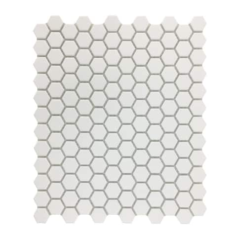 Matte White Hexagonal Tile Porcelain For Floors or Walls 19.3 SQ FT 23 Tiles