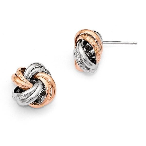 Italian Sterling Silver Rose Rhodium-plated Post Earrings