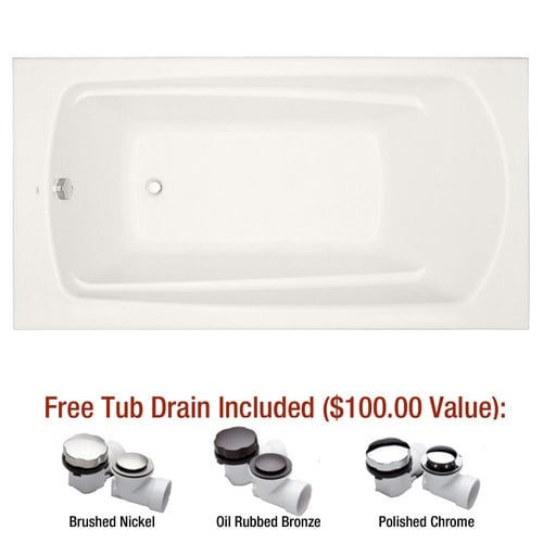 "Mirabelle MIRPRS6032 Provincetown 60"" X 32"" Drop-In Soaking Tub with Reversible"