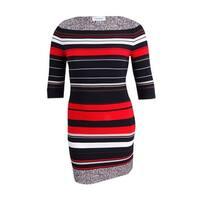 Calvin Klein Women's Petite Striped Sheath Dress (10P, Fire Multi) - fire multi - 10P