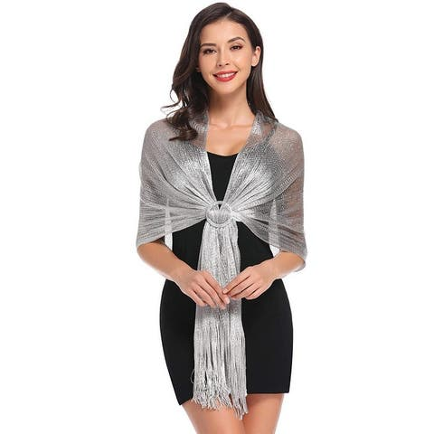 Womens Wedding Wrap Shawl Glitter Metallic Party Scarf with Fringe