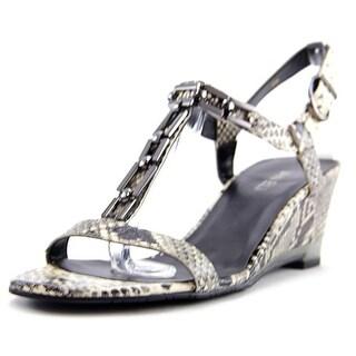 Vaneli Marva Open Toe Leather Wedge Sandal