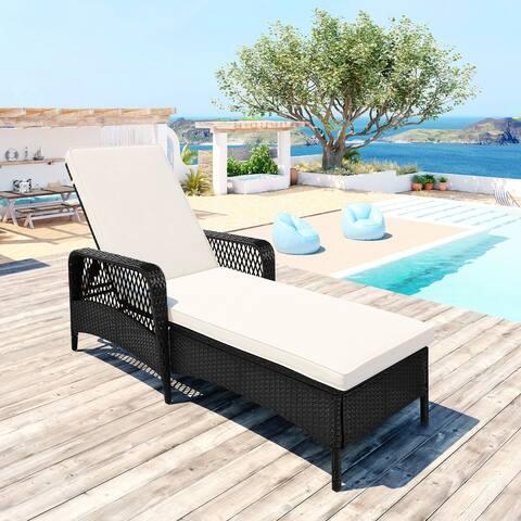 Nestfair Outdoor Adjustable Backrest Wicker Sun Lounge
