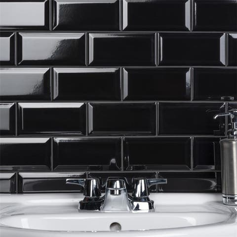 SomerTile 3 x 6-Inch Crown Heights Beveled Glossy Black Ceramic Wall Tile (44 Tiles/6.03 sqft.)
