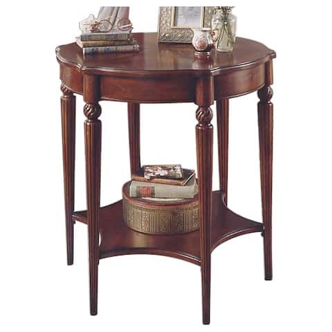 Offex Distressed Solid Wood Accent Table in Plantation Cherry Finish - Dark Brown