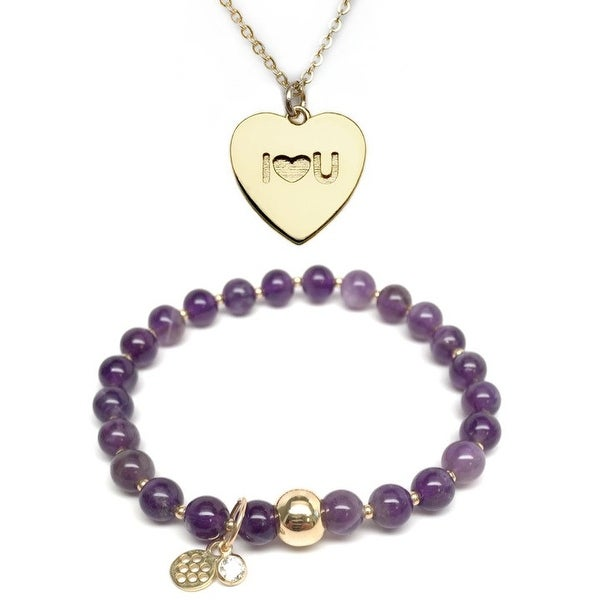 "Purple Amethyst 7"" Bracelet & I Heart U Heart Gold Charm Necklace Set"