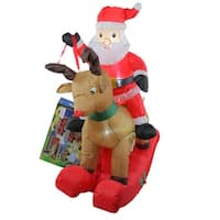 4.75' Inflatable Rocking Reindeer & Santa Lighted Christmas Outdoor Decoration - RED