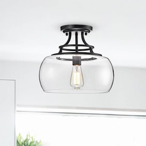 Luna Antique Black Clear Glass Semi Flush Mount Chandelier