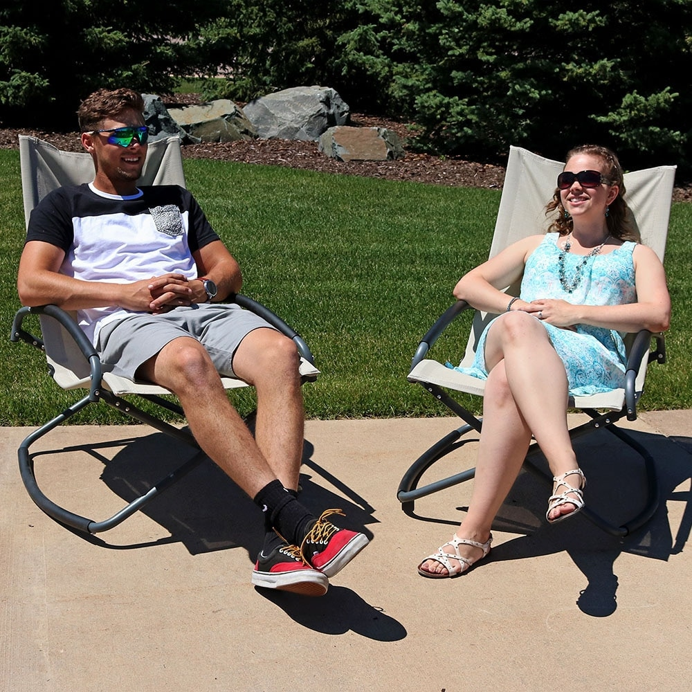 Sunnydaze Folding Rocking Lounge Chair - Thumbnail 2