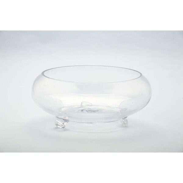 "9.5"" Cylindrical Round Glass Vase with Pedestal - N/A"